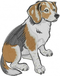 Beagle Sitting embroidery design