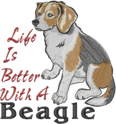 Beagle Life embroidery design