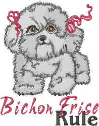 Bichon Frise Rule embroidery design