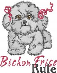 Bichon Frise Rule embroidery design