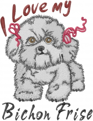Love Bichon Frise embroidery design