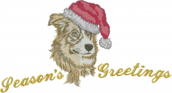 Christmas Border Collie embroidery design