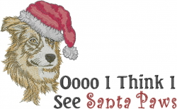 Santa Border Collie embroidery design