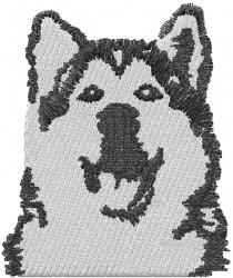 Alaskan Malamute Head embroidery design