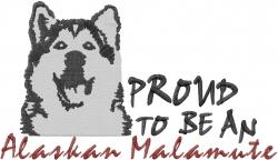 Proud Alaskan Malamute embroidery design