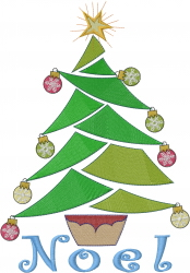 Noel Christmas Tree embroidery design