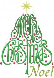 Noel Christmas Tree embroidery design
