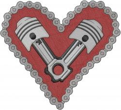 Motorhead Valentine Heart embroidery design