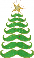 Mustache Christmas Tree embroidery design