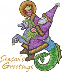 Mythical Santa Greetings embroidery design