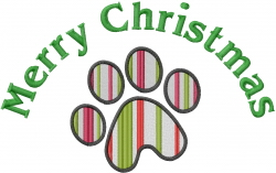 Christmas Paw Print embroidery design