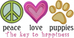 Peace Love Puppies embroidery design
