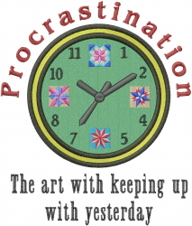 Quilting Procrastination Clock embroidery design