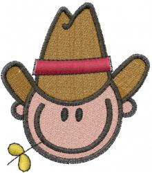 Stick Cowboy Head embroidery design