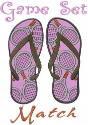 Tennis Match Sandals embroidery design
