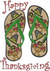 Thanksgiving Flip Flops embroidery design