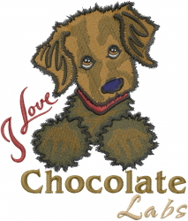 Chocolate Labrador embroidery design