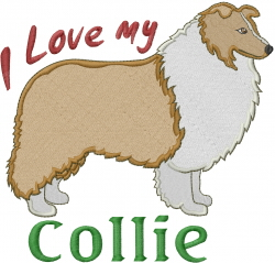 Love My Collie embroidery design