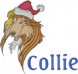 Collie Santa embroidery design