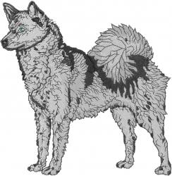 Finnish Spitz embroidery design