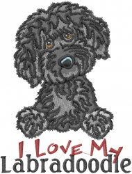 Love My Labradoodle embroidery design