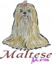 Maltese Mom embroidery design