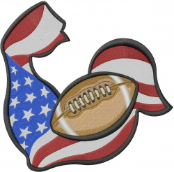 American Flag Football embroidery design