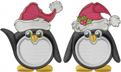 Christmas Penguins embroidery design
