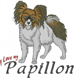 Love My Papillon embroidery design