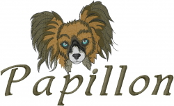 Papillon Head embroidery design