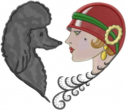 Poodle Woman Heart embroidery design
