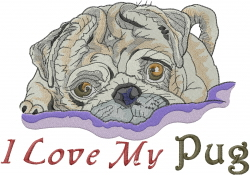 Love My Pug embroidery design