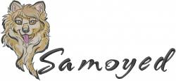 Samoyed Dog Face embroidery design