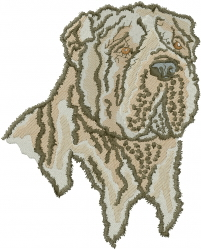 Shar Pei Dog Head embroidery design