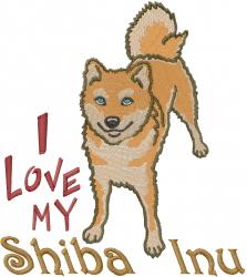 Love My Shiba Inu embroidery design
