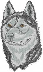 Siberian Husky Head embroidery design