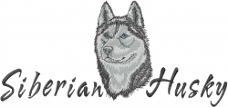Siberian Husky Head embroidery design