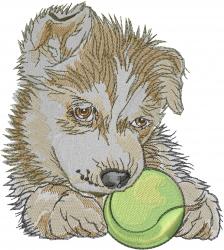 Siberian Husky Ball embroidery design