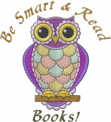 Owl Read embroidery design