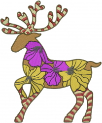 Christmas Floral Reindeer embroidery design