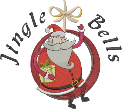 Jingle Bells Santa embroidery design