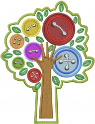 Button Tree embroidery design