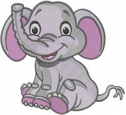 Elephant Sit embroidery design