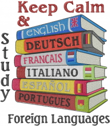 Keep Calm Language Study embroidery design