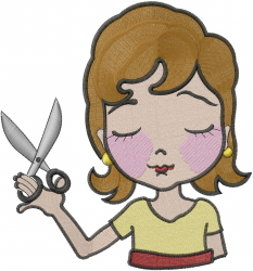 Scissors Woman embroidery design