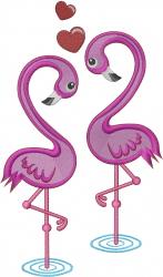 Heart Flamingos embroidery design