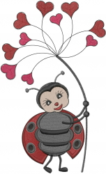 Heart Lady Bug embroidery design