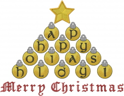 Happy Holidays Ornaments embroidery design