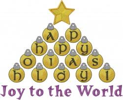 Joy Ornament Tree embroidery design