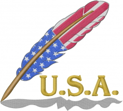 USA Feather Flag embroidery design